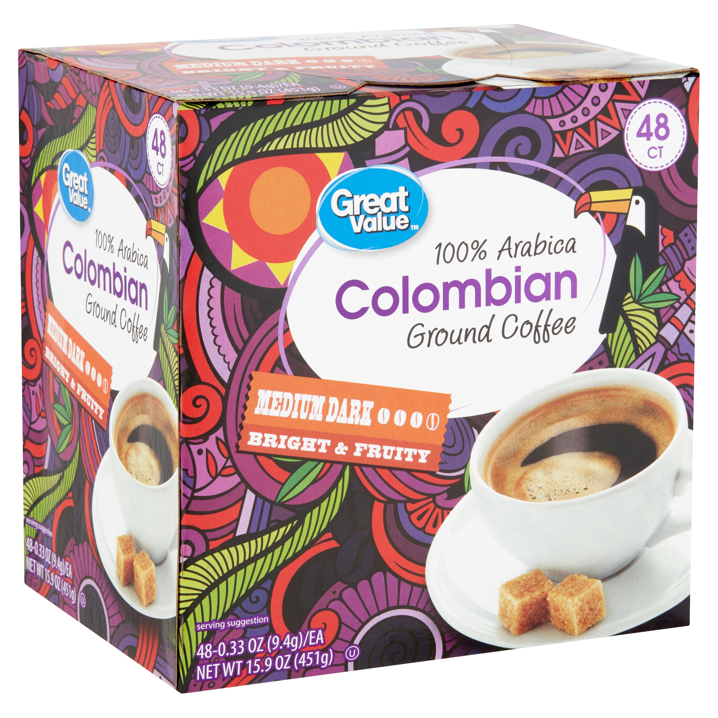 Great Value 100% Arabica Colombian Medium Dark Ground Coffee, 0.33 oz, 48 count