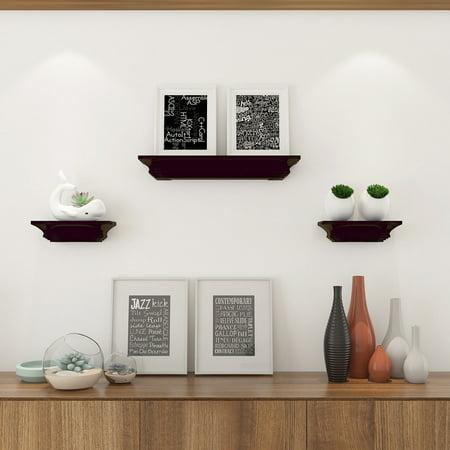 Costway Set of 3 Fireplace Mantel Shelf Ledge Floating Wall Mounted Shelves Decoration (Fireplace Floating Mantel)