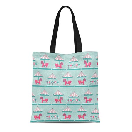 ASHLEIGH Canvas Bag Resuable Tote Grocery Shopping Bags Pink Amusement Children Horse Pattern Carousel for Baby and Newborn Beautiful Tote Bag