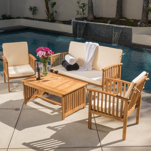 Christopher Knight Home Carolina 4 Piece Outdoor Acacia Sofa Set By