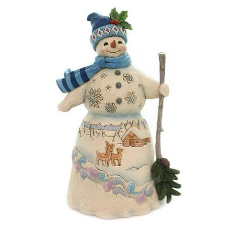 Jim Shore WINTER IS CALLING Polyresin Snowman Snowy Winter Scene 6001476