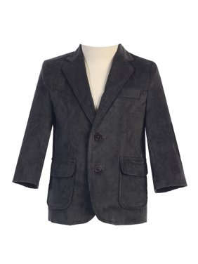 Big Boys Dark Gray Two Button Corduroy Blazer 14