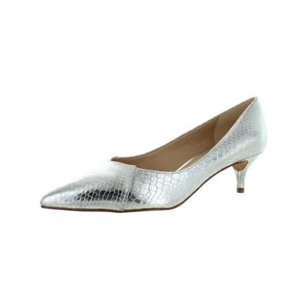 f4b4703a5b3 Franco Sarto - Franco Sarto Womens Donnie Metallic Kitten Heel Pumps Silver  9 Wide (C