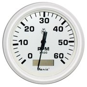 """Faria 33140 Dress Tachometer Gauge with Hourmeter 7000 RPM - White, 4"""""""