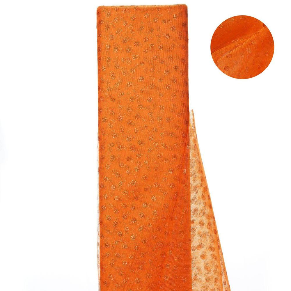 Glittered Polka Dot Tulle FabricOrange- 54 x 15 Yards