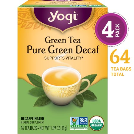 (Pack of 4) Yogi Tea, Green Tea Pure Green Decaf Tea, Tea Bags, 16 Ct, 1.09 OZ