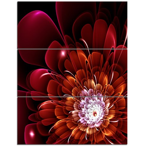 Design Art Fractal Red and Yellow Flower - 3 Piece Graphic Art on Wrapped Canvas Set