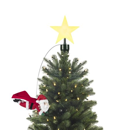 Mr. Christmas Animated Tree Topper Flying Santa (Animated Angel Tree Topper With Moving Wings)