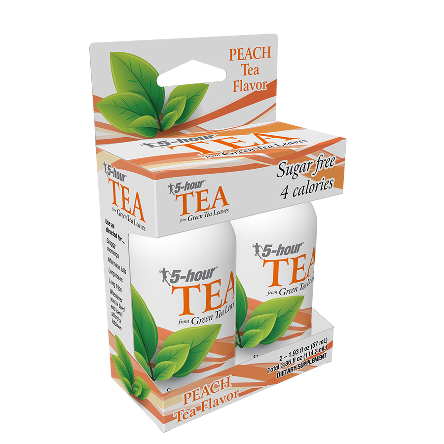 5-hour TEA, Peach Tea Flavor, Low Calorie Energy Shot, 2 Ct