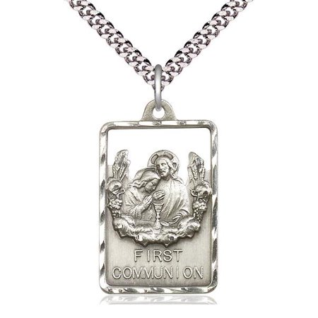 Communion / First Reconciliation Medal Pendant in Sterling Silver with 24