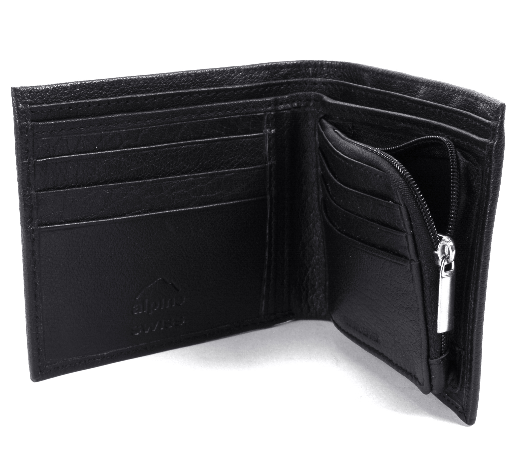 RFID Blocking Mens Leather Wallet Zipper Coin Purse Card Slots Case