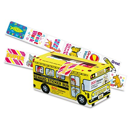 Pacon Big School Bus Reward Stickers  Assorted Designs  800 Stickers Per Box