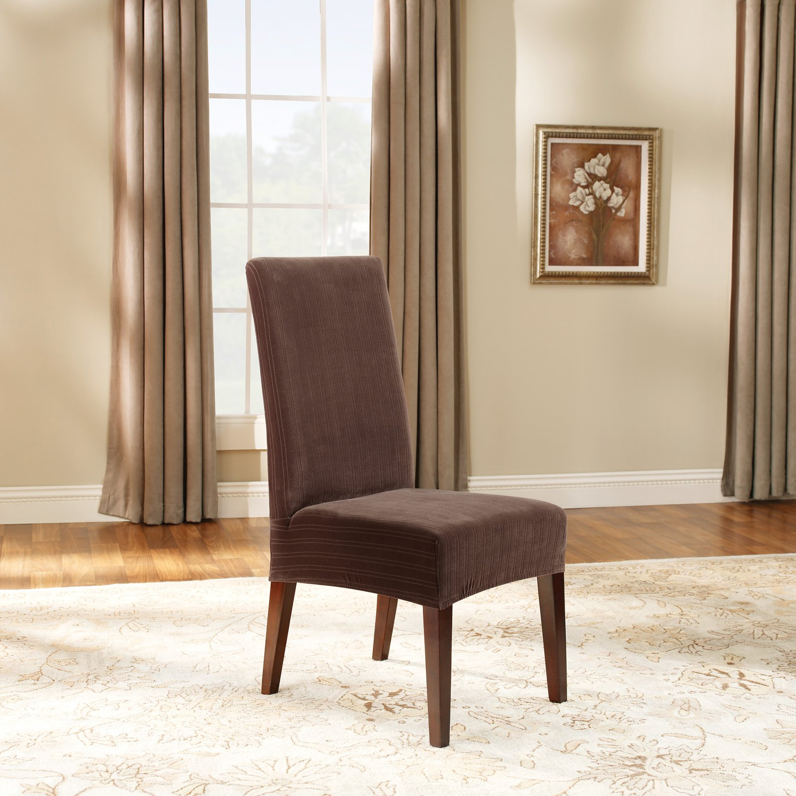 Sure Fit Stretch Pinstripe Short Dining Room Chair Slipcover