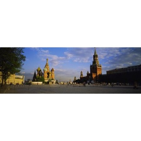 Cathedral at a town square St Basils Cathedral Red Square Moscow Russia Poster Print