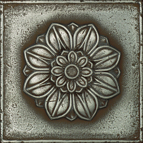 Daltile Metal Signatures Rosette Rounded 4-1/4'' x 4-1/4'' Decorative Tile in Aged Iron