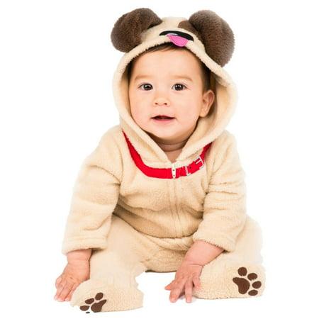 Infant Boys & Girls Little Puppy Costume Plush Brown Dog Jumpsuit