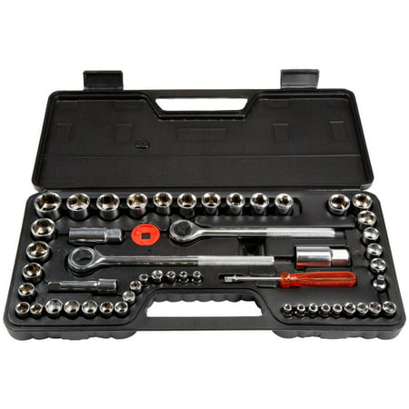 Stalwart 52-Piece 1/4, 3/8 and 1/2 Drive Socket Set SAE and Metric Amd A75 Socket