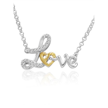 Sterling Silver and 14K Gold Heart in Love Diamond Necklace (1/10ct tw 17 inch) Diamond Accent Love Necklace