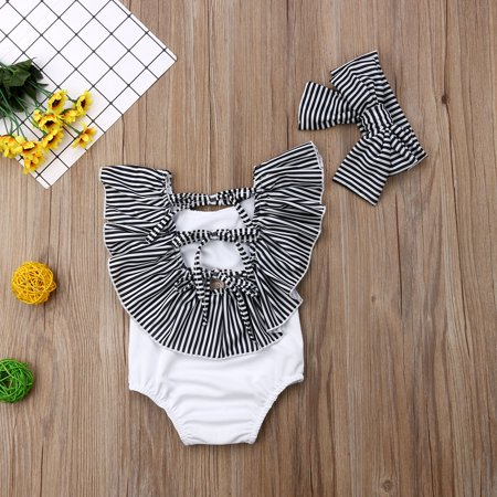 2Pcs Set Baby Girl Bikini Backless Swimsuit Stripe Ruffle Swimwear Outfit with Headband Beach