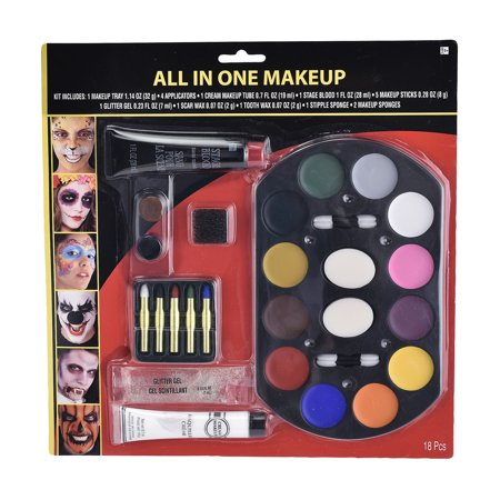 Halloween Blood Dripping Makeup (Suit Yourself All-in-One Halloween Makeup Supplies, 18 Pieces, Include Wax, Glitter, Fake Blood, Applicators, and)