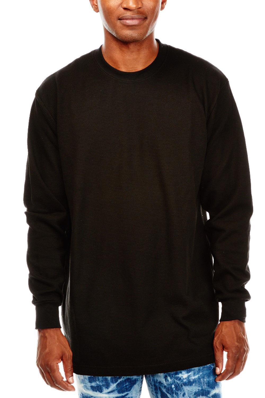 Mens Basic Plain Round Neck Thermal Long Sleeves Henley Top K100-BTL