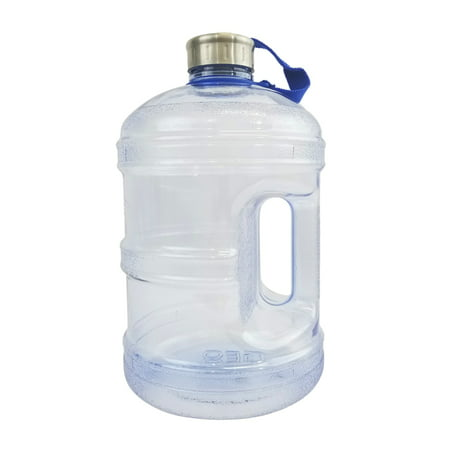 1 Gallon BPA FREE Reusable Plastic Drinking Water Bottle w/ Stainless Steel Cap - Natural Blue