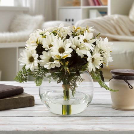 "Pure Garden 9"" x 6"" Daisy Artificial Floral Arrangement with Vase and Faux Water, White"
