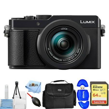 Panasonic Lumix DC-LX100 II 17MP Digital Camera (Black) STARTER BUNDLE with 64GB SD Card, Gadget Bag + MORE ()