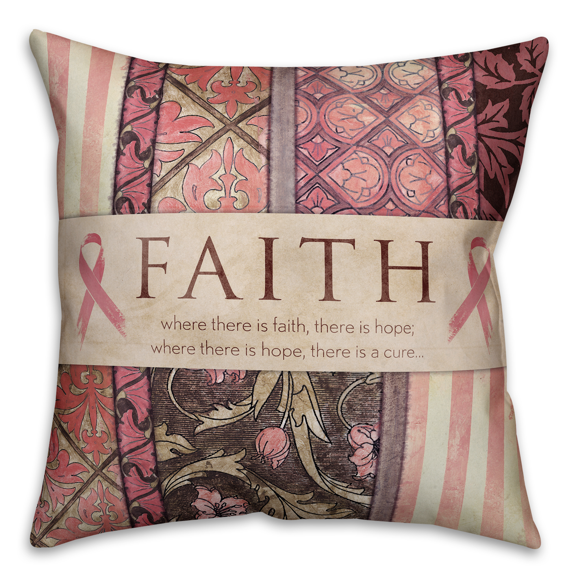 Faith Breast Cancer Awareness 18x18 Spun Poly Pillow