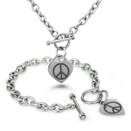 Womens Peace Bracelet - Stainless Steel Peace Symbols Heart Charm Toggle Bracelet & Necklace