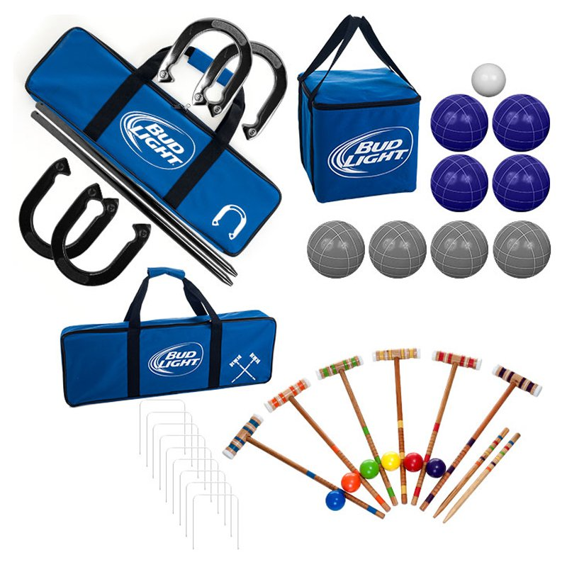 Bud Light Bocce Ball Croquet & Horseshoe Combo Set by