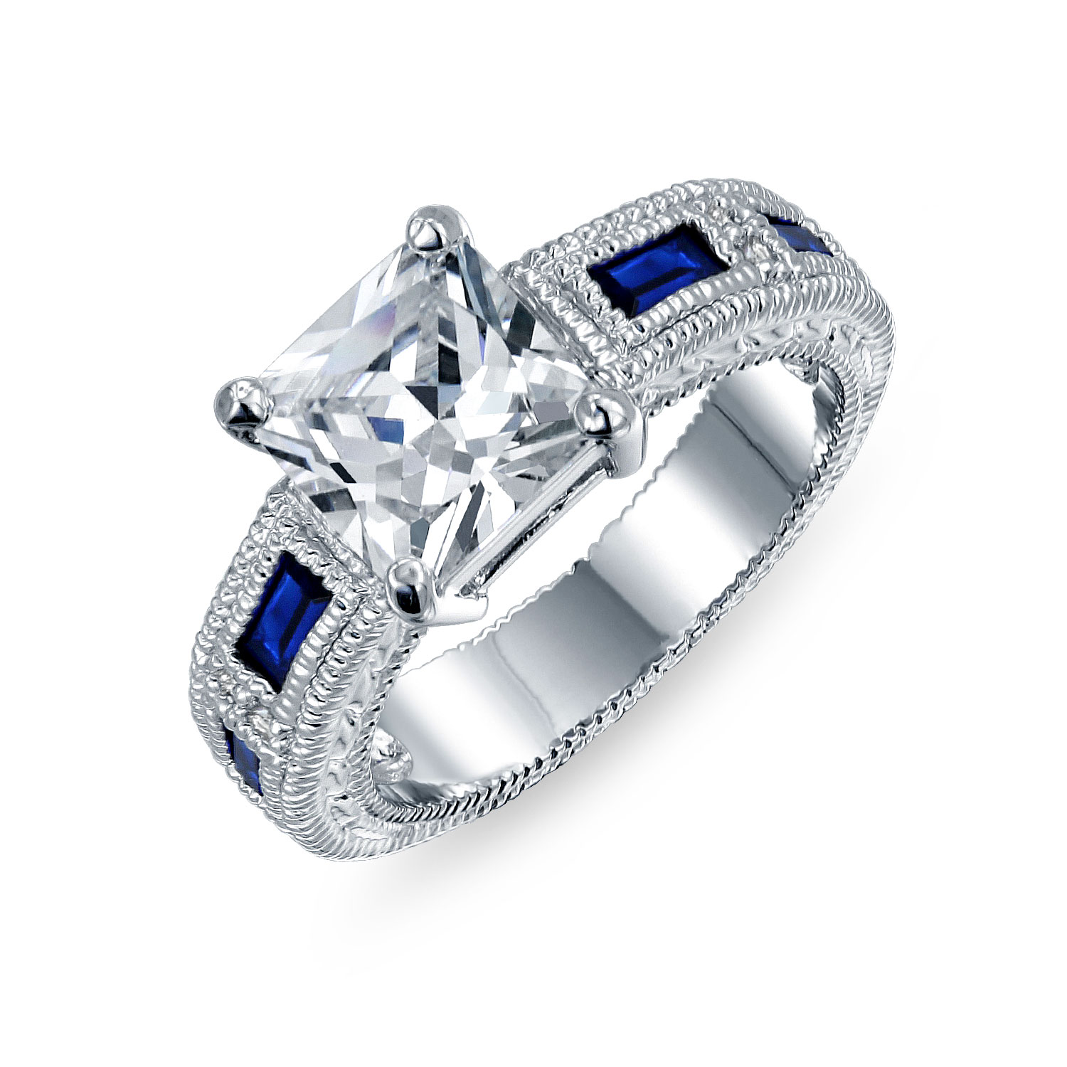 Bling Jewelry Princess Cut CZ Simulated Sapphire Baguette Engagement Ring Rhodium Plated Brass
