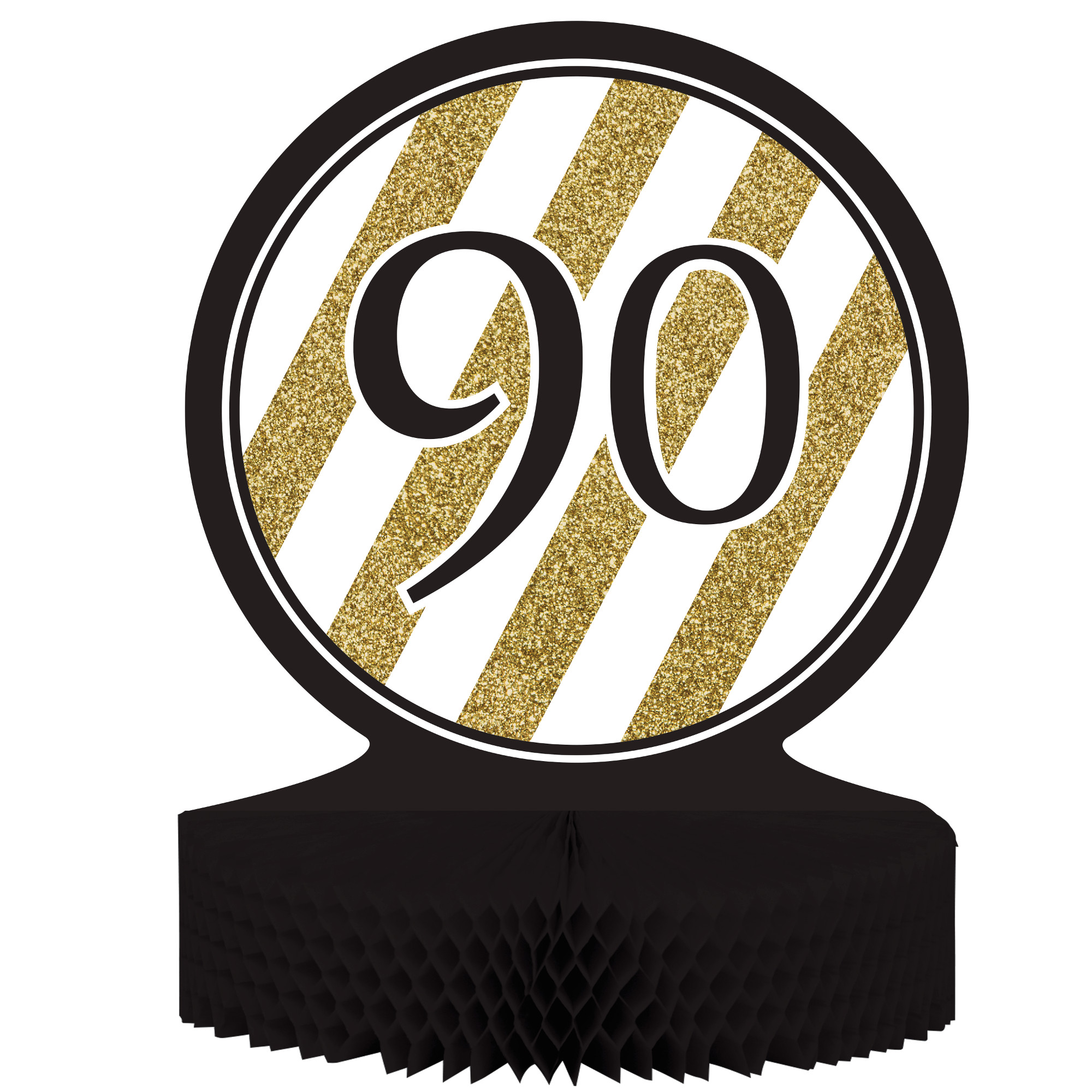 "Black & Gold 90th Birthday Honeycomb Centerpiece 12"" x 9"", Case of 6"