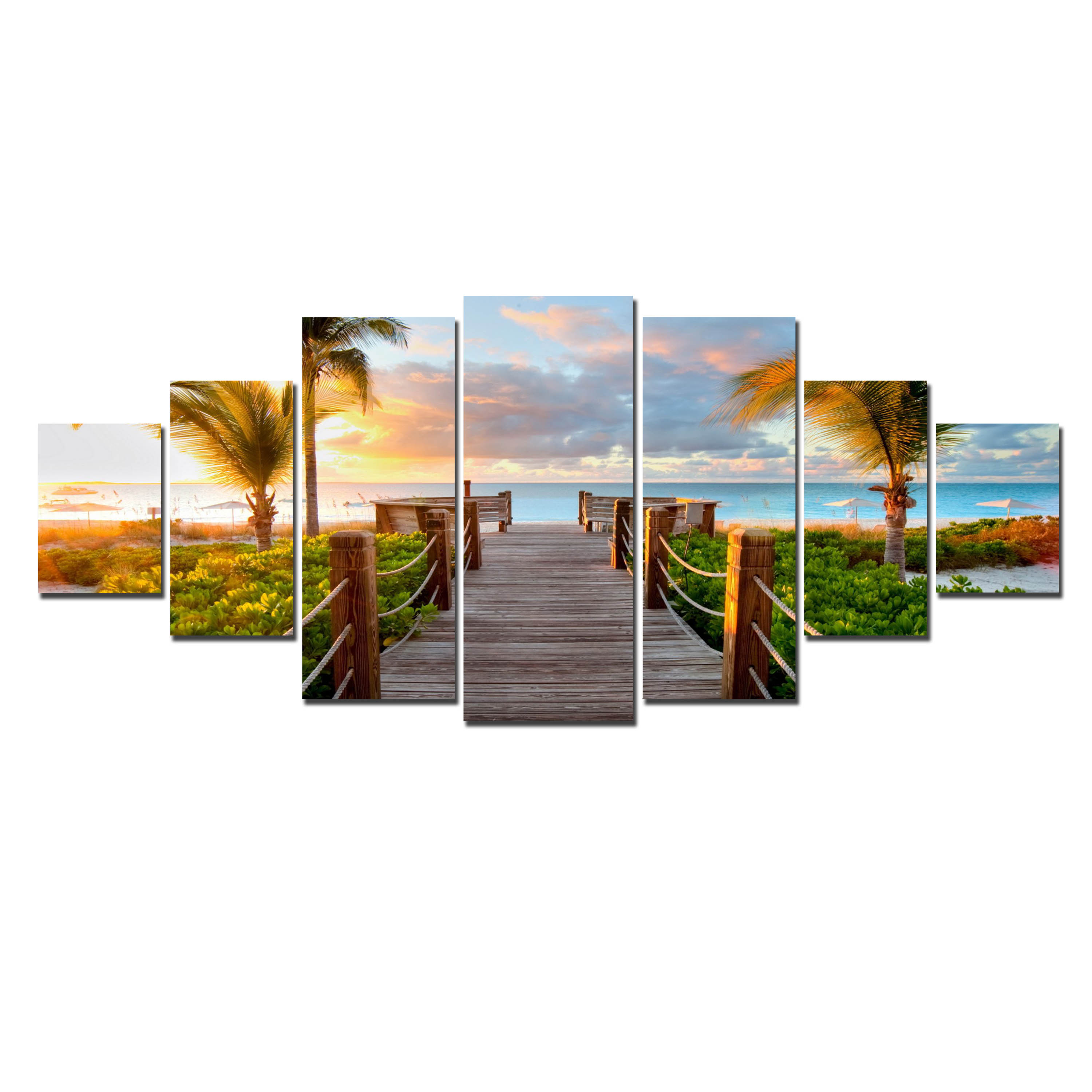 Startonight Huge Canvas Wall Art Summer Bridge Beach I, USA Large Home Decor, Dual View Surprise Artwork Modern Framed Wall Art Set of 7 Panels Total 39.37 x 94.49 inch