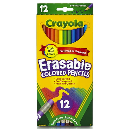 Crayola Eraseable Colored Pencils, 12 Count Dixon Erasable Colored Pencils