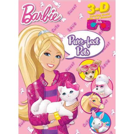 barbie purr fect pets 3d coloring book with 3d glasses