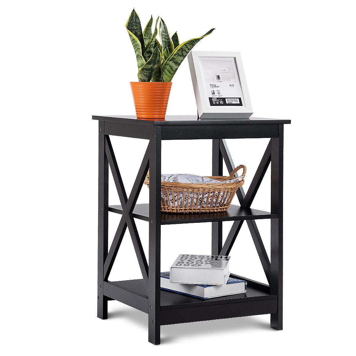 Costway 3 Tier Nightstand End Table Storage Display Shelf Living Room Furniture Black Walmart Canada
