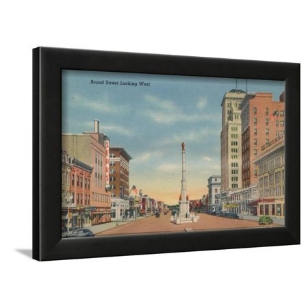 Broad Street, Looking West, Augusta, Georgia, 1943 Framed Print Wall Art