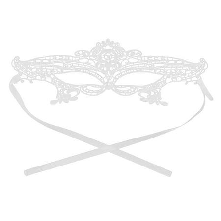 Women Sexy Masquerade Venetian Halloween Fancy Dress Eyemask Lace Eye Mask White - Halloween Cat Eye Masks