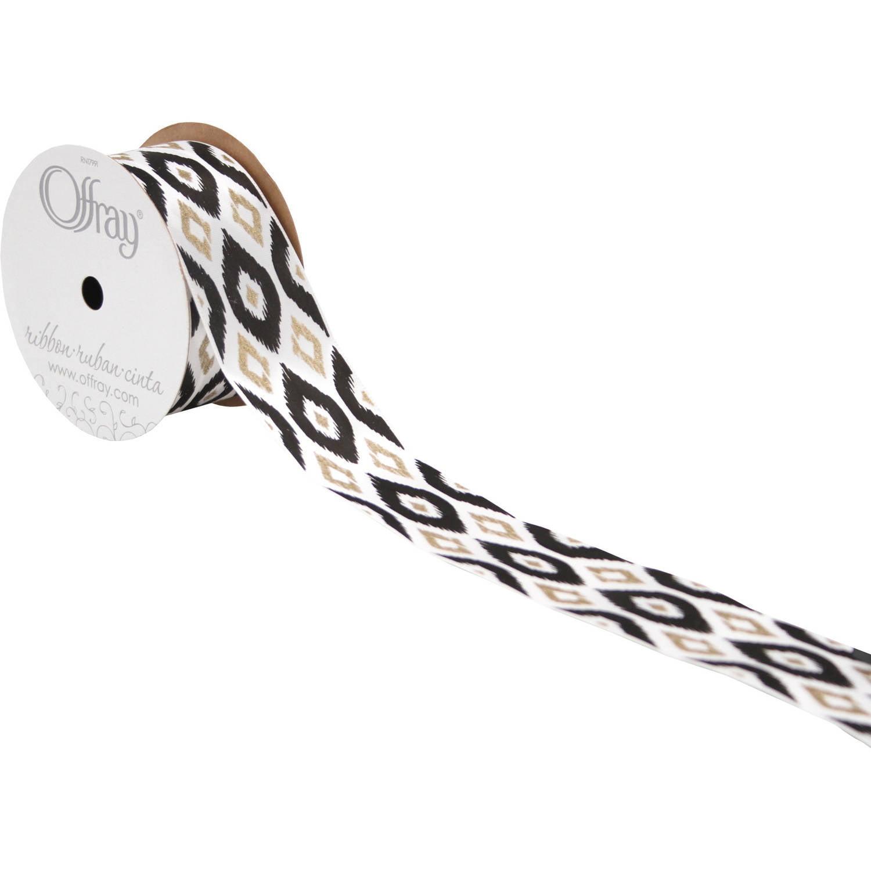 "Offray Ribbon, Large Ikat 1 1/2"", White, 9'"