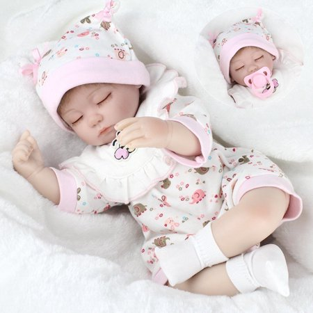 Moaere Clearance Reborn Baby Dolls 16 inch Quality Realistic Handmade Babies Dolls Girls Soft Vinyl Silicone Lifelike Kids Gifts / Toys Age 3+ (Toys For Girls Age 7)
