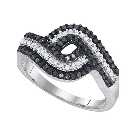 10k White Gold Black Color Enhanced Round Diamond Womens Woven Striped Cocktail Band 1/2 Cttw - image 1 of 1