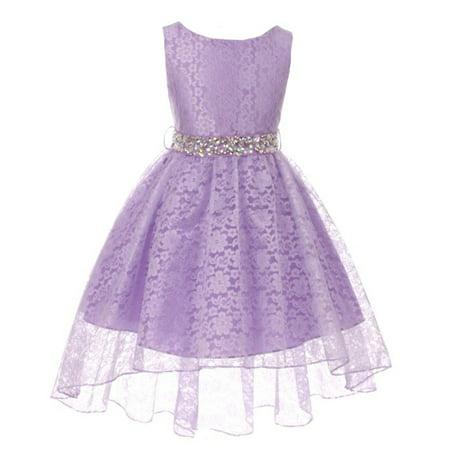 Girls Lilac Rhinestone Belt High Low Skirt Flower Girl Dress (Full Skirt Flower Girl Dresses)