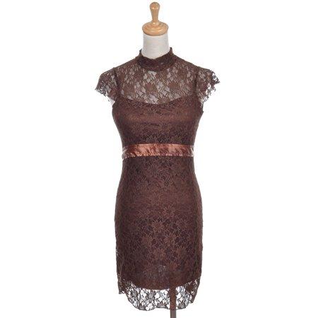 - Womens Brown Floral Lace Mock Neck Short Sleeve Satin Belt Dress
