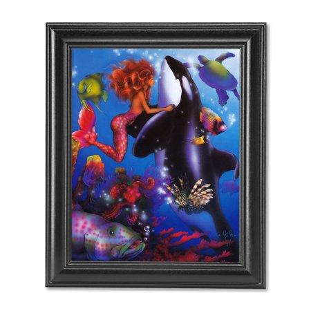 Mermaid Orca Whale Ocean Fish Sea Turtle Fantasy Wall Picture Black Framed