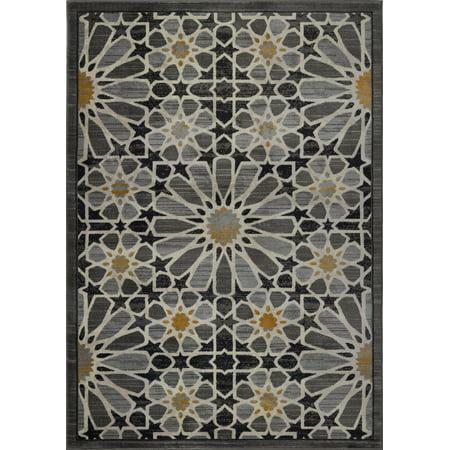 Beautiful Super Soft Modern Indoor Vincenza Collection Area Rug Carpet for Bedroom Living Room Dining Room in Dark Grey-Gold, 5x7 (5'3