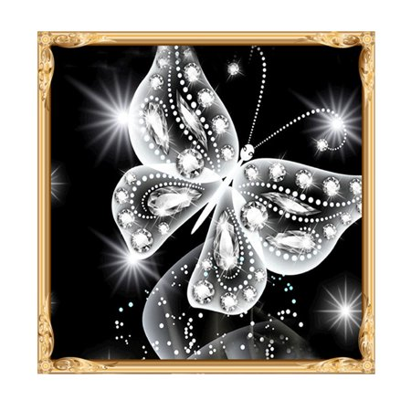 5D DIY Diamond Embroidery Painting Handmade Wall Decoration Cross Stitch Printing Craft Kits(Butterfly)