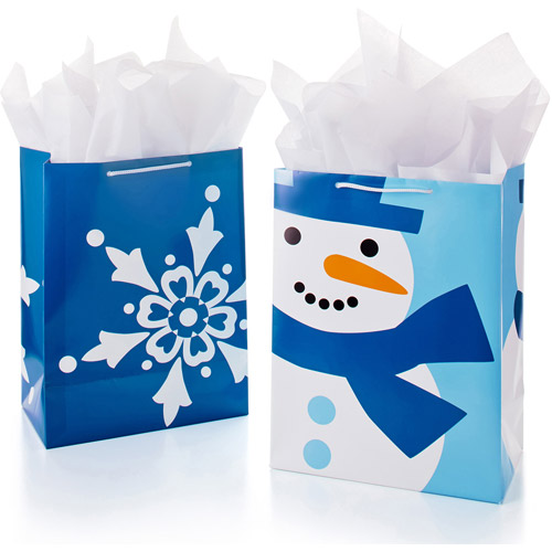 Hallmark 2-Pack Blue and White Large Holiday Gift Bags, Snowman and Snowflake
