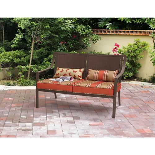 Mainstays Alexandra Square Outdoor Loveseat Garden Bench, Orange