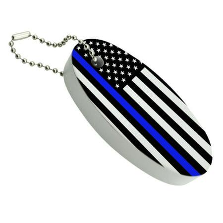Thin Blue Line American Flag Floating Foam Keychain Fishing Boat Buoy Key Float